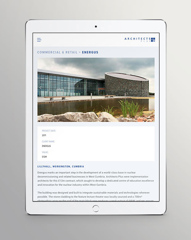 Architects Plus website Tablet view