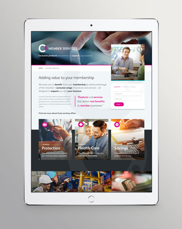 Cumbria Chamber website - tablet view